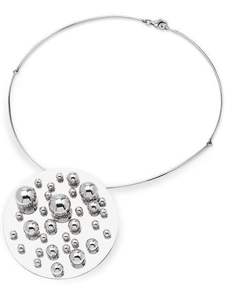 Collana e spilla a sfere argento di Pol Bury per Marylart